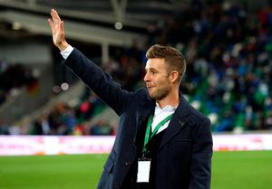 World Superbike champion Jonathan Rea waves to the crowd before the 2018 FIFA World Cup Qualifying, Group C match at Windsor Park, Belfast. PRESS ASSOCIATION Photo. Picture date: Thursday October 5, 2017. should read: Niall Carson/PA Wire.