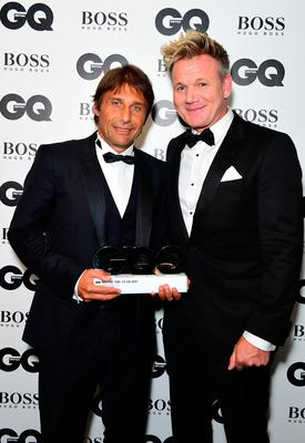 Antonio Conte with his Special Achievement award poses with Gordan Ramsay during the GQ Men of the Year Awards 2017 held at the Tate Modern, London. PRESS ASSOCIATION Photo. Picture date: Tueday September 5th, 2017. Photo credit should read: Ian West/PA Wire
