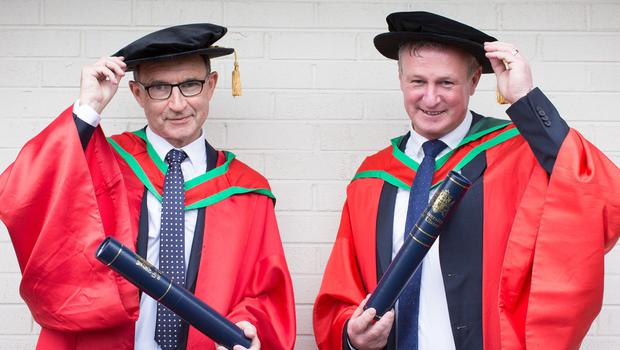 Pictured are football managers Martin O'Neill and Michael O'Neill who both received honorary degrees from Ulster University this morning. Both received the honorary degree of Doctor of Science (DSc) for their contribution to Irish football. (Photo: Nigel McDowell/Ulster University)