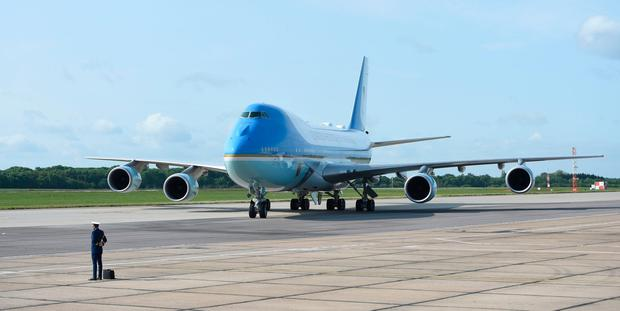 Air Force One, carrying President Donald Trump and his wife Melania, arrives at Stansted Airport in Essex, for the start of the three day US state visit to the UK. PRESS ASSOCIATION Photo. Picture date: Monday June 3, 2019. See PA story ROYAL Trump. Photo credit should read: Joe Giddens/PA Wire