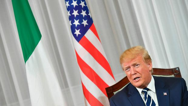US President Donald Trump is seen during his meeting with Irish Prime Minsiter Leo Varadkar (unseen) at Shannon Airport in Shannon, County Clare, Ireland on June 5, 2019 after attending an event to commemorate the 75th anniversary of the D-Day landings wrapping up a UK State Visit. - US President Donald Trump and Queen Elizabeth II joined 300 veterans in paying tribute to their fallen comrades at a poignant ceremony on Wednesday marking the 75th anniversary of D-Day. Wrapping up a three-day State Visit to the UK Trump flew to Ireland where he is expected to hold a meeting with prime minister Leo Varadkar and visit his golf course near the village of Doonbeg. (Photo by MANDEL NGAN / AFP)MANDEL NGAN/AFP/Getty Images