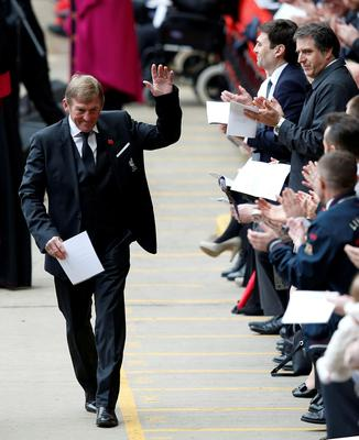 Former Liverpool player and manager Kenny Daglish arrives for the last memorial service to be held at Anfield, Liverpool, to mark 27 years to the day since the tragedy claimed 96 lives. PRESS ASSOCIATION Photo. Picture date: Friday April 15, 2016. The 96 Liverpool fans died in the crush on the Leppings Lane terraces at Sheffield Wednesday's Hillsborough stadium after going to see their team play Nottingham Forest in an FA Cup semi-final on April 15, 1989. See PA story MEMORIAL Hillsborough. Photo credit should read: Peter Byrne/PA Wire