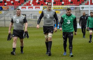 ?Russell Pritchard 5th March 2015 Ireland holding an open training session today  for the first time since the redevelopment of the Ground at Kingspan Stadium, Ravenhill Belfast today.  Jack McGrath, Devin Toner and Tommy Bowe. ?Russell Pritchard / Presseye