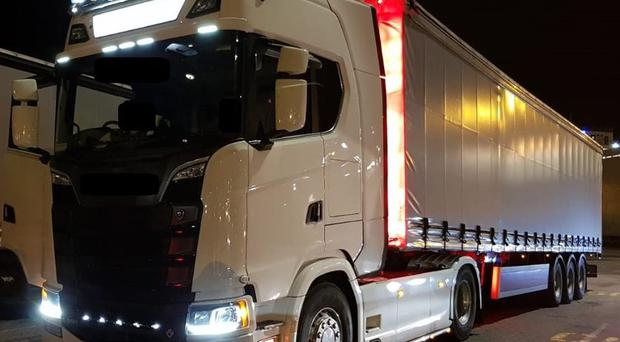 A lorry seized in the search