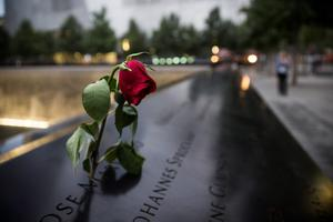 A wilting rose is left in remembrance of those lost before the memorial observances held at the site of the World Trade Center in New York, Sept. 11, 2014. This year marks the 13th anniversary of the September 11th terrorist attacks that killed nearly 3,000 people at the World Trade Center, Pentagon and on Flight 93. (AP Photo/POOL, Andrew Burton)