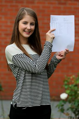 Rachel Philpott who achieved four A*s at Sullivan Upper School, Holywood, after receiving her A level results. Brian Lawless/PA Wire