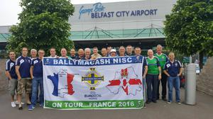 Ballymacash Northern Ireland supporter's club head off to France. Pic: Andrew Clarke
