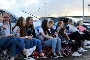 PACEMAKER PRESS BELFAST 31/7/2020 Ballymena United suppporters gathered at a drive-in screening of the match against Glentoran at Ballymena Showgrounds in order to facilitate social distancing.  Ballymena fans were tense during the first half after GlentoranÕs goal. Photo Pacemaker Press