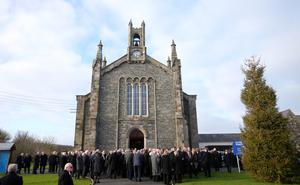 Press Eye - Belfast - Northern Ireland - 14th January 2018  Funeral for former Belfast Lord Mayor Dr Ian Adamson at Conlig Presbyterian Church in Co. Down.  The 74-year-old who died last week was a Ulster Unionist Party politician, medical doctor and historian, Dr Adamson served as Lord Mayor of Belfast in 1996/7, high sheriff in 2011 and was an Assembly member for the constituency of East Belfast from 1998 to 2003.    Picture by Jonathan Porter/PressEye