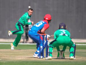 Taking aim: Andy McBrine on the attack against Afghanistan