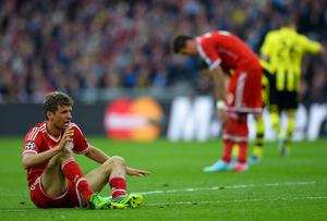 LONDON, ENGLAND - MAY 25:  Thomas Mueller of Bayern Muenchen reacts during the UEFA Champions League final match between Borussia Dortmund and FC Bayern Muenchen at Wembley Stadium on May 25, 2013 in London, United Kingdom.  (Photo by Laurence Griffiths/Getty Images)