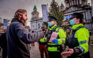 Police at an anti-lockdown protest held at Belfast City Hall on November 21st 2020 (Photo by Kevin Scott for Belfast Telegraph)