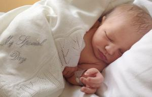 Samuel Hanak weighed 8lbs 4oz when he was born on Sunday, October 20 at 1.53am.
