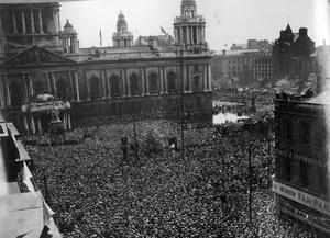 VE Day: Crowd listening to Prime Minister Winston Churchill's broadcast at Belfast City Hall.  (08/05/1945)