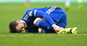 James Maddison was forced off through injury in the second half (Michael Regan/PA)
