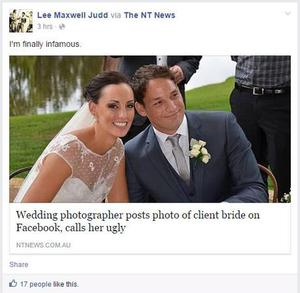 Mr Judd posted a link to a news story about the incident on his personal Facebook page