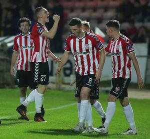 Derry Ronan Curtis celebrates his opening goal. Photo Lorcan Doherty / Presseye.com