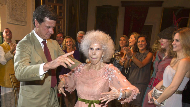 Spain's Duchess of Alba dies aged 88 on November 20, 2014. File photo shows the Duchess, Maria del Rosario Cayetana Fitz-James-Stuart, dancing with son Cayetano Martinez de Irujo during her wedding ceremony to Alfonso Diez Carabantes held at Duenas Palace on October 5, 2011 in Seville, Spain. (Photo by José Manuel Vidal - Pool/Getty Images)