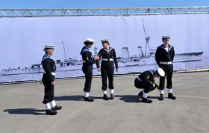Pacemaker Press 31/5/2016 Cadets during The commemoration which  takes  place at HMS Caroline on the centenary of the Battle of Jutland, as Belfast hosts a special all-island commemoration for Irish sailors who died in World War One. Pic Colm Lenaghan/Pacemaker