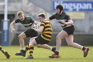 10/3/20: John Johnson of RBAI in action against Campbell College during the Medallion Shield Final at the Kingspan. Picture: Robbie Cooper