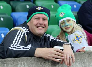 Northern Ireland's fans before the game at Windsor Park in Belfast.  Photo David Maginnis/Pacemaker Press
