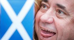 First Minister of Scotland Alex Salmond in Inverurie, Scotland, as Scotland goes to the polls to vote in the Scottish independence referendum