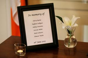 A list of the names of the victims beside a book of condolence at Mansion House in Dublin opened in memory of those killed in the Berkeley balcony collapse.  PRESS ASSOCIATION Photo. Picture date: Thursday June 18, 2015. See PA story IRISH Balcony. Photo credit should read: Niall Carson/PA Wire