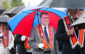 Picture - Kevin Scott / Presseye  Belfast - Northern Ireland - Monday 13th July 2015 -  Ardoyne Parade Outward   Pictured is Nelson McCausland at the Orange order parade and its associated protests as it makes its way past the flashpoint of the Ardoyne Shopfront in Belfast, Northern Ireland.    Picture by Kevin Scott  / Presseye.