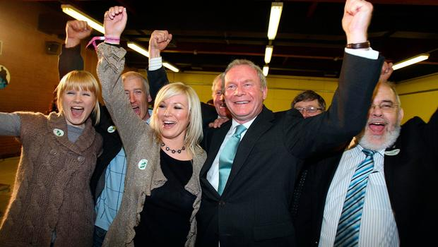 File photo dated 07/05/10 of Deputy First Minister Martin McGuinness (second right) of Sinn Fein celebrating after being returned as MP for Mid Ulster, at The Seven Towers Leisure Centre in Ballymena.  Paul Faith/PA Wire