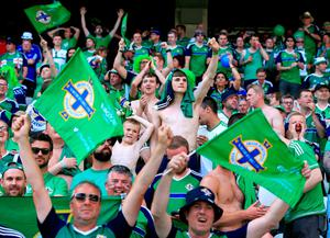 Northern Ireland fans show their support in the stands before the UEFA Euro 2016, Group C match at the Stade de Nice, Nice.