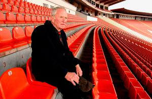 Harry Gregg the former Manchester Utd Goalkeeper sitting in the stands of Red Star Belgrade 50 years after the air crash in which many of the Manchester United team died. Pic (C) Stuart Clarke.