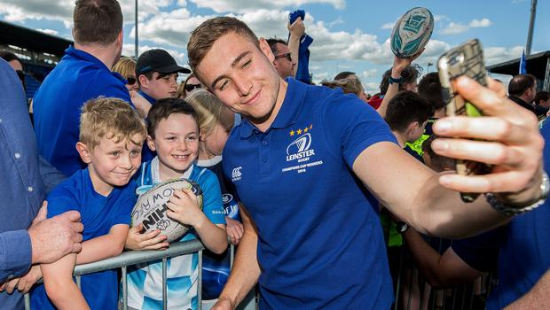 In frame: Jordan Larmour takes a photo with young Leinster supporters