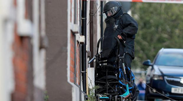 Police and ATO at the scene of a security alert in the Cavendish Street area of west Belfast on July 26th 2019 (Photo by Kevin Scott for Belfast Telegraph)
