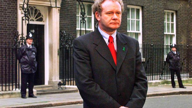 File photo dated 19/10/98 of Martin McGuinness leaving 10 Downing St after a meeting with Prime Minister Tony Blair. PA