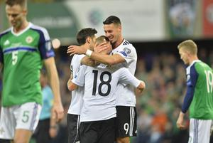 MARK MARLOW 05/11/2017. World cup qualifier Northern Ireland vs Germany at The National football stadium at windsor Park in Belfast. Pictured is Germanys Joshua Kimmich celebrating a goal during tonights game in Belfast. Picture Mark Marlow