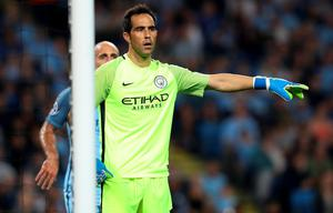Manchester City goalkeeper Claudio Bravo during the Champions League match at the Etihad Stadium, Manchester. PRESS ASSOCIATION Photo. Picture date:  Wednesday September 14, 2016. See PA story SOCCER Man City. Photo credit should read: Martin Rickett/PA Wire