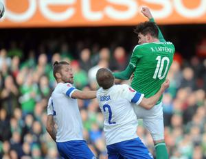 Northern Ireland's Kyle Lafferty scores during this evening's game at Windsor Park in Belfast. Colm Lenaghan/Pacemaker.