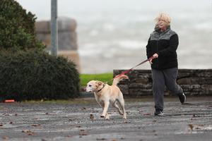 A woman walks her dog in the coastal village of Carrigaholt on the West Coast of Ireland as Hurricane Ophelia batters the UK and Ireland with gusts of up to 80mph. Niall Carson/PA Wire