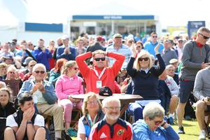 8 July 2017 - Picture by Darren Kidd /Press Eye.     Dubai Duty Free Irish Open Hosted by the Rory Foundation at Portstewart Golf Club, Northern Ireland.  Fans at the the Dubai Duty Free Irish Open as they watch the Lions v All Blacks on the big screen.
