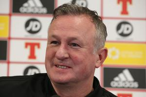 Michael O'Neill speaks to the press ahead of Northern Ireland's game against Estonia.