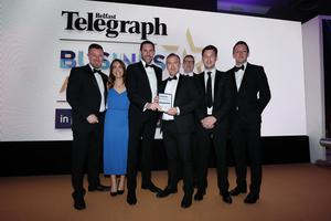 Press Eye - Belfast - Northern Ireland - 2nd May 2019 -   The Belfast Telegraph Business Awards in association with Ulster Bank at the Crowne Plaza Hotel, Belfast.  Emerging Business/Start Up of the Year Sponsored by Wilson Nesbitt Mark Lilley and his colleagues from Groundswell Presented by Neil Logan, Partner, Wilson Nesbitt  Photo by Kelvin Boyes / Press Eye.