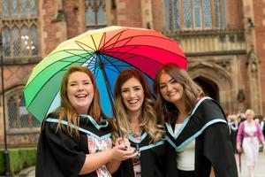 Niamh O'Hare, Emma McGee and Michelle McIlroy all celebrated graduating with a Masters in Mechanical Engineering, from the School of Mechanical and Aerospace Engineering at Queen's University Belfast.