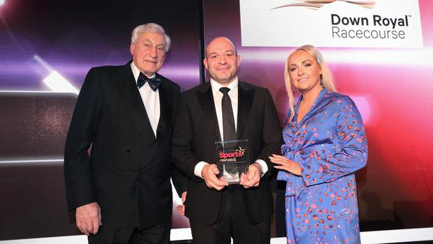 Press Eye - Belfast - Northern Ireland - 20th January  2020  Photo by Kelvin Boyes / Press Eye.  2019 Belfast Telegraph Sport Awards at the Crowne Plaza Hotel in Belfast.  AWARD 18  HALL OF FAME sponsored by Down Royal  Emma Meehan, CEO Down Royal Racecourse and Willie John McBride make a presentation to Rory Best