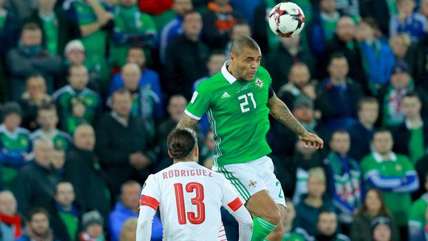 Northern IrelandÕs Josh Magennis and Switzerland's Ricardo Rodriguez in action during the World Cup qualifying playoff at Windsor Park on November 9th 2017   (Photo by Kevin Scott / Belfast Telegraph)