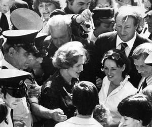 Margaret Thatcher, former British Prime Minister, on a visit to Belfast. 29/8/1979. Richard Needham can be seen to the right of Mrs Thatcher.