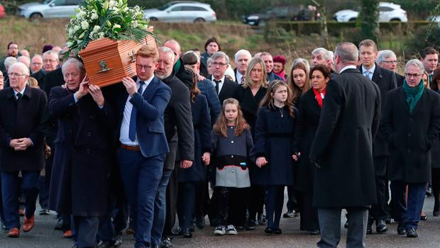 Daniel McCrossan (front right) carrying the coffin of Seamus Mallon, the former deputy First Minister of Northern Ireland, at his funeral at St James of Jerusalem Church in Mullaghbrack, Co Armagh. Pic: Liam McBurney/PA Wire