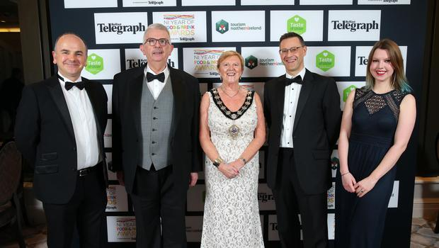 Press Eye - Belfast - Northern Ireland - 2nd February 2017 -    NI Year of Food & Drink Awards at the Culloden Hotel.  Stephen Daye, Councillor Audrey Wales, Ald. John Carson, Mayor of Mid & East Antrim, Philip Thompson and Alison Diver pictured at the NI Year of Food & Drink Awards at the Culloden Hotel.  Photo by Kelvin Boyes / Press Eye.