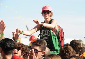 INDIO, CA - APRIL 13:  Coachella music fan watches the Dropkick Murphys perform onstage during day 2 of the 2013 Coachella Valley Music & Arts Festival at the Empire Polo Club on April 13, 2013 in Indio, California.  (Photo by Kevin Winter/Getty Images for Coachella)