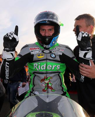 PACEMAKER BELFAST  11/05/2017 Martin Jessopp celebrates his 2nd win of the evening taking the Supertwin race at the Vauxhall International North West 200 on Thursday evening. Michael Rutter 2nd and Ivan Lintin 3rd Photo Stephen Davison/Pacemaker Press
