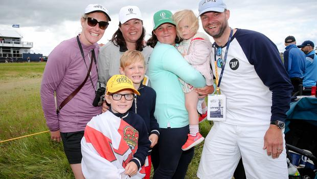 Danielle McCarthy, Marie McNeela, Lily McNeela, Ayda-Grace McCarthy (2), Iain McCarthy, Harris McCarthy (5), and Cohen McCarthy (7) enjoy the golf at Royal Portrush. Click through the images to see the best shots from the the third round at The Open. Picture: Philip Magowan / PressEye